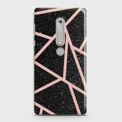 NOKIA 6.1 Black Sparkle Glitter With RoseGold Lines Case