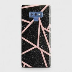 SAMSUNG GALAXY NOTE 9 Black Sparkle Glitter With RoseGold Lines Case