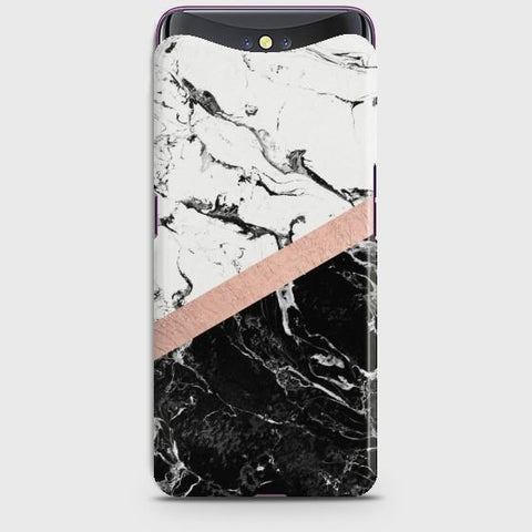 OPPO FIND X Black & White Marble With Chic RoseGold Case