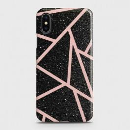 IPHONE XS Black Sparkle Glitter With RoseGold Lines Case