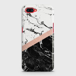 OPPO A5 Black & White Marble With Chic RoseGold Case