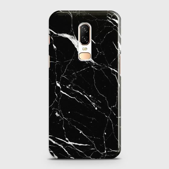OnePlus 6 Trendy Black Marble design Case