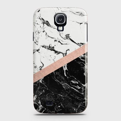 SAMSUNG GALAXY S4 Black & White Marble With Chic RoseGold Case
