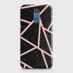 LG Q7 Black Sparkle Glitter With RoseGold Lines Case