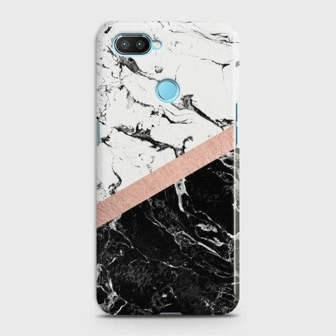 Oppo Realme 2 Black & White Marble With Chic RoseGold Case