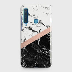 SAMSUNG GALAXY A9 (2018) Black & White Marble With Chic RoseGold Case