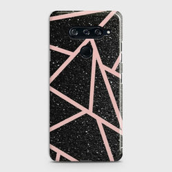 LG V40 Black Sparkle Glitter With RoseGold Lines Case