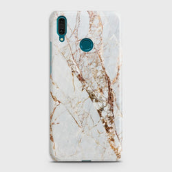HUAWEI Y9 PRIME (2019) White & Gold Marble Case