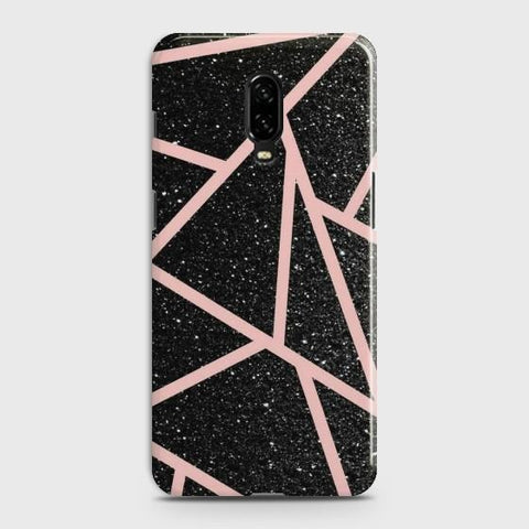 OnePlus 6T Black Sparkle with RoseGold Lines