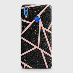 HUAWEI HONOR 8X Black Sparkle Glitter With RoseGold Lines Case