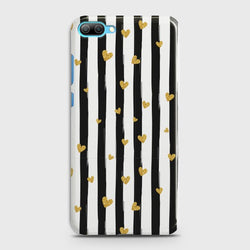 Huawei Honor 10 Glitter Heart Stripes Case