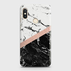 XIAOMI REDMI NOTE 6 PRO Black & White Marble With Chic RoseGold Case