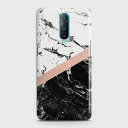 Oppo R17 Pro Black & White Marble With Chic RoseGold Case
