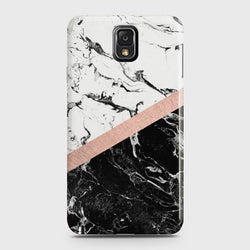 SAMSUNG GALAXY NOTE 3 Black & White Marble With Chic RoseGold Case