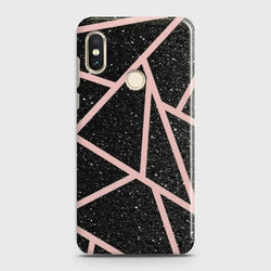 XIAOMI MI 8 Black Sparkle Glitter With RoseGold Lines Case