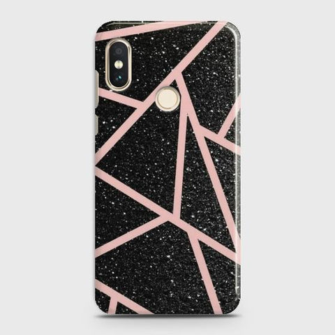 REDMI NOTE 5/NOTE 5 PRO Black Sparkle Glitter With RoseGold Lines Case