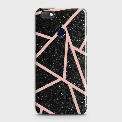 INFINIX NOTE 5 (X604) Black Sparkle RoseGold Lines Case