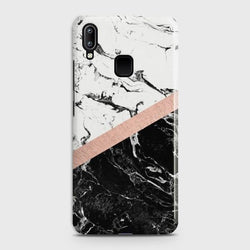 Vivo Y91 Black & White Marble With Chic RoseGold Case