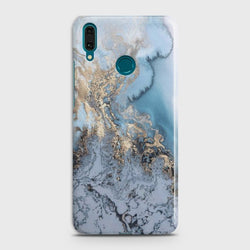Huawei Y7 2019 Golden Blue Marble Case