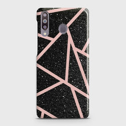 SAMSUNG GALAXY M30 Black Sparkle Glitter With RoseGold Lines Case