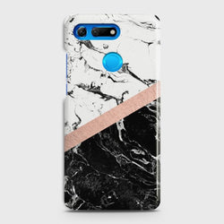 HUAWEI HONOR VIEW 20 Black & White Marble With Chic RoseGold Case