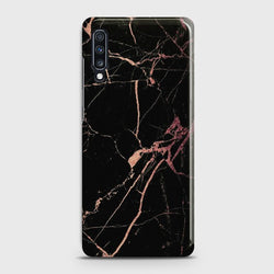 SAMSUNG GALAXY A70 Black Rose Gold Marble Case