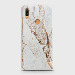 HUAWEI Y6 PRO 2019 White & Gold Marble Case