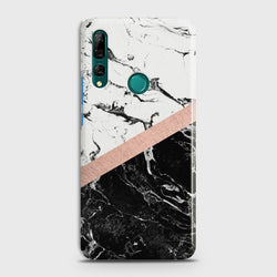 Huawei P Smart Z Black & White Marble With Chic RoseGold Case