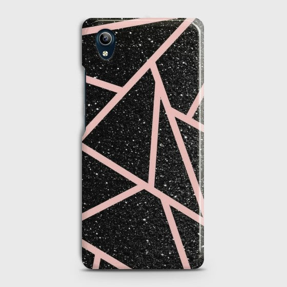 VIVO Y90 Black Sparkle RoseGold Lines Case