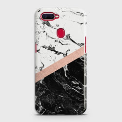 OPPO A5s Black & White Marble With Chic RoseGold Case
