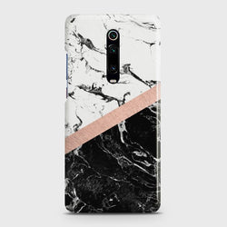 XIAOMI MI 9T Black & White Marble With Chic RoseGold Case