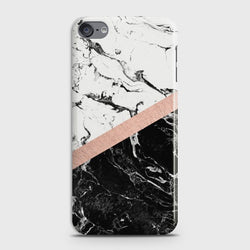 IPOD TOUCH 7 Black & White Marble Chic RoseGold Case