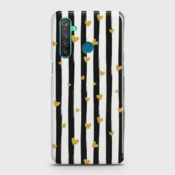 REALME 5 PRO Glitter Heart Stripes Case