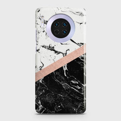 Huawei Mate 30 Black & White Marble With Chic RoseGold Case