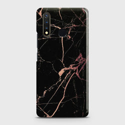 VIVO Y19 Black Rose Gold Marble Case