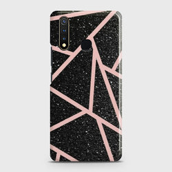 VIVO Y19 Black Sparkle Glitter Gold Lines Case