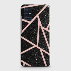 SAMSUNG GALAXY A51 Black Sparkle Glitter With RoseGold Lines Case