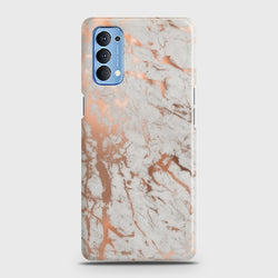 Oppo Reno 4 Chic Rose Gold Chrome Style Print Case