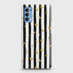 Oppo Reno 4 Glitter Heart Stripes Case
