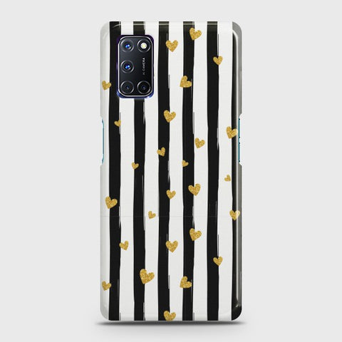 OPPO A52 Glitter Heart Stripes Case