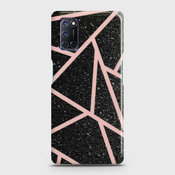 OPPO A92 Black Sparkle Glitter With RoseGold Lines Case