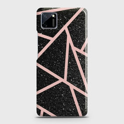 Realme C11 Black Sparkle Glitter With RoseGold Lines Case