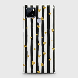 Realme C12 Glitter Heart Stripes Case