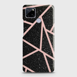 Realme C12 Black Sparkle Glitter With RoseGold Lines Case