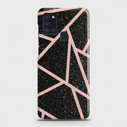 Samsung Galaxy A21s Black Sparkle Glitter With RoseGold Lines Case