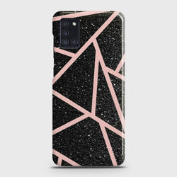 SAMSUNG GALAXY A31 Black Sparkle Glitter With RoseGold Lines Case