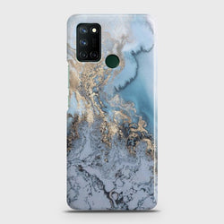 Realme C17 Golden Blue Marble Case