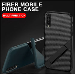 Ultra Thin Carbon Fiber Folding Stand Telefoon Case Voor Vivo Models Luxe Silicone Bracket Cover