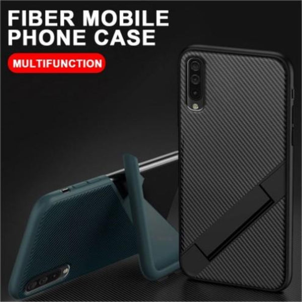 Ultra Thin Carbon Fiber Folding Stand Telefoon Case Voor Huawei Y9 Prime 2019 Luxe Silicone Bracket Cover