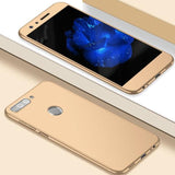Huawe Y7 Prime (2018) & P Smart 360 Protection Front+Back+Free Glass (2018)/honor 7C / Gold